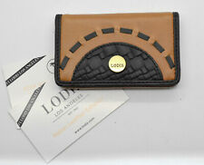 A3 NWT LODIS Leather Black Rodeo Woven Rfid Mini Magnetic Closure Card Case