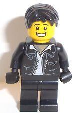 Lego Leather Jacket Minifigure Man x 1 Black Hair Lego Minifig