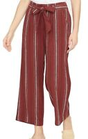 Sanctuary Womens Pants Red Size 31 Striped Wide Leg Belted Cropped $119 883