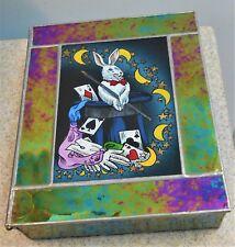 Leaded Iridescent Blue Hinged Glass Box w Rabbit Magician
