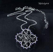 PILGRIM+ 925 Sterling Silver Diamond Amethyst Flower Necklace BNWT Limited Ed