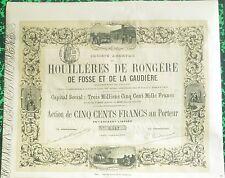 Dépt 03 - Superbe Action Houillères de Rongère de Fosse et de la Gaudière  1880