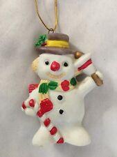 "White 3"" Snowman Holding Bell Figurine Ornament"