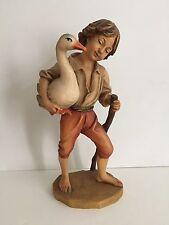 "ANRI Italy Hand Carved Wood Figurine TO MARKET 10"" by BERNARDI Boy w/Goose"