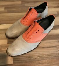Cole Haan AIR Nubuck Oxford Dress Shoes Croc Mens SZ 12 Beige/Grey Orange Saddle