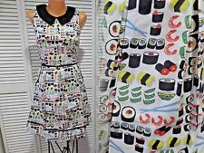 NWT Retrolicious Folter Retro Peter Pan Collar Vintage Inspired Sushi Dress Sz M
