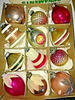 Vintage Shiny Brite UFO Tornado Mica Corning Glass Ball Ornaments Pink Mix