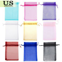 """100-200 PCS  5""""×7"""" Wedding Organza Gift Favor Bag Drawstring Candy Jewelry Pouch"""