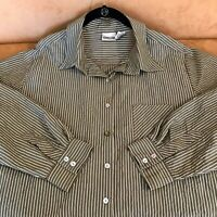 Chico's size 3 (XL) grey white striped button up shirt long sleeve top