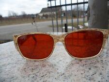 Vintage 1960s Women's Sunglasses Beige Wood Grain Plastic Frame Orange Lens