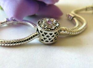 Silver Plated Sparkling Crystal CZ Charm Bead for European Charm Bracelet