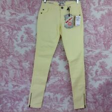 Hot Kiss Skinny Lily Jeans Size 1 Jegging Stretch Zip Up Ankles Yellow Textured