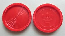 """2 Red Large Jumbo 3"""" Rug Checkers Game Replacement Pieces Parts NEW"""