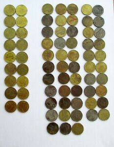 Lot of 71 Brass Gaming Tokens~ Aladdin's Castle (53) and Namco (18) ~ Free Ship