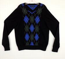 Tommy Hilfiger Mens L Sweater Argyle V Neck Pull Over Blue & Black Diamond