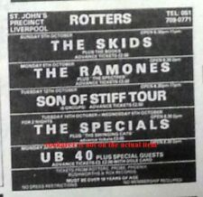 More details for ub40 uk timeline advert - liverpool rotters 25-oct-1980 4x3 inches