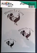 Stencil by Aurora Arts A4 Bistro Le Coq Paris set 190mic Mylar craft stencil 185