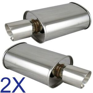 2X Polished Spun-locked Exhaust Oval Muffler Double Wall Slant Tip for Lexus