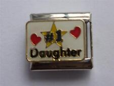CLASSIC SILVER ITALIAN CHARM NUMBER ONE DAUGHTER fits all 9mm bracelet V11