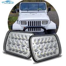 For 1986-1995 Jeep Wrangler YJ Chrome Led Headlights High Low Beam H4 Headlamp