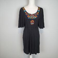 Mermaid Anthropologie Black Colorful Beaded Blouse Tunic Medium top ***