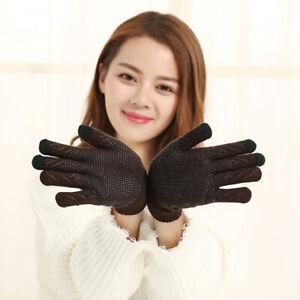 Unisex Couple Gloves Women Men Knitted Touch Screen Full Finger Winter Gloves