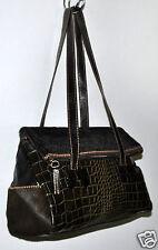 L.Credi Leather Calf Hair & Croc Embossed Dark Olive Green Handbag Made in Italy