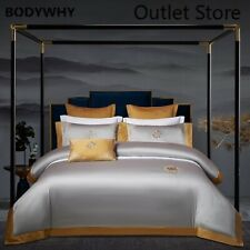 000TC Egyptian Cotton Bedding Set Embroidery Bed Duvet Cover Bed Sheet Linen Set