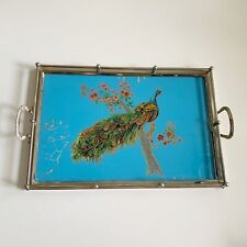 Reverse Painted Glass Metal Tray Peacock Blue Background Vintage Mid Century 20�