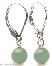 Genuine Light green Jade Sterling Silver Lever Back Dangle Earring
