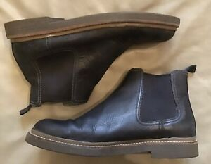 Clarks Mens Bushacre Hill Black Leather Pull On Ankle Chelsea Boots size 11