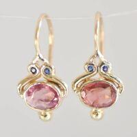 Vintage Oval Pink Topaz CZ Dangle Hook Earrings 18K Yellow Gold Wedding Jewelry