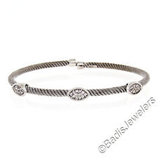 "NEW Italian 14K White Gold 6.5"" Diamond Stackable Twisted Cable Bangle Bracelet"