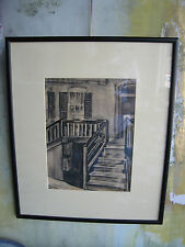 Antique Early 20th Century Signed Charcoal Drawing of Stairwell