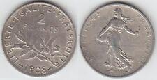 Gertbrolen 2 Francs Argent Type Semeuse 1908 Exemplaire N° 1