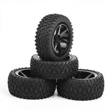 4X RC Front& Rear Rubber Tires&Wheel Rim For 1:10 Off-Road Buggy Car B03 Black