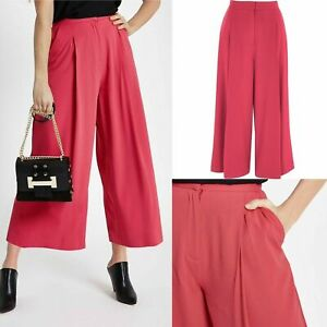 Brand New ex River Island Coral Bright Pink Wide Leg Culottes RRP £40 Sizes 6-14