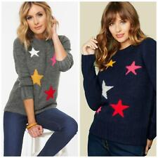 NEW WOMENS LADIES Relaxed Long Star jumper in Grey or Navy Winter Warm