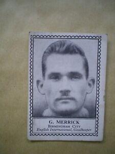 G MERRICK, BIRMINGHAM CITY, BARRATT FAMOUS FOOTBALLERS CARD