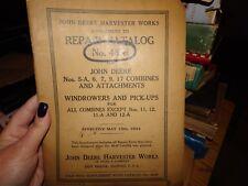 1944 JOHN DEERE HARVESTER WORKS REPAIR CATALOG 46H 5-A,6,7,9,17 COMBINES