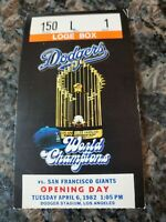 1982 Los Angeles Dodgers Vs San Francisco Giants Opening Day Ticket Stub Rare