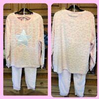 Janina Schlafanzug Gr.L 44/46 XL 48/50 Warm Rosa mit Sterne Neu