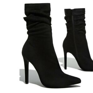 Women's Suede Fabric Pointed Toe High Heel Stiletto Zip Slouch Mid Calf Boots L