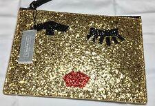 LULU Guinness Gold Glitter Nastro faccia Medium Grace Sacchetto Pochette Regalo RRP £ 95