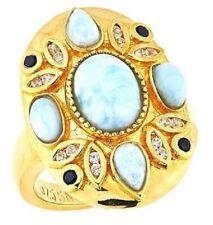Sheryl Jones 22k Gold Plated Precious Gems Larimar, Zircon & Black Spinel Ring 8
