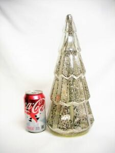 "14"" Tall Mercury Silver Glass Christmas Tree Internal Light Works Holiday Decor"