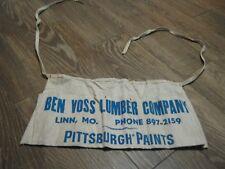 Vintage Ben Voss Lumber CO Linn MO PitsburghPaints Carpenter Tool Nail Apron