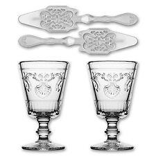2x La Rochere Absinth Glas Versailles 200ml + 2x Absinth Löffel Antique