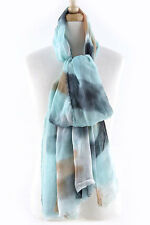 Turquoise Black Tie Dye Oversized Scarf Sarong Shawl Lightweight Rectangle