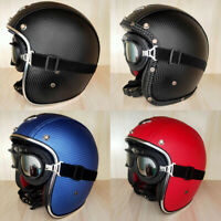 Top Leather Motorcycle Helmet Open Face w/Goggles Half 3/4 Helmet S/M/L/XL/XXL